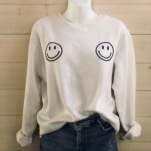 {american apparel} raw hem smiley boob sweatshirt